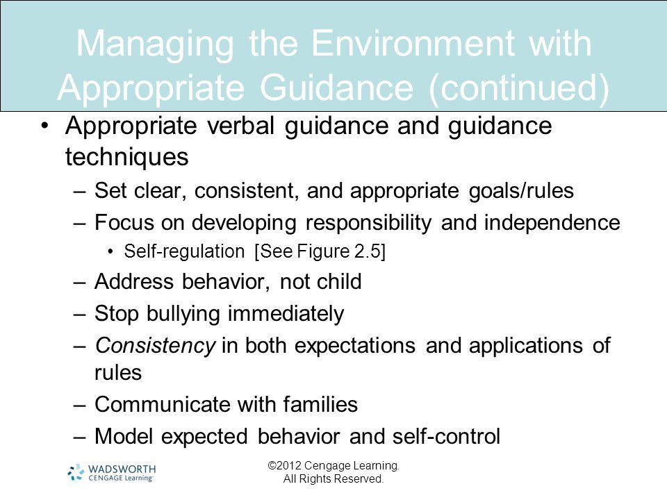 Managing the Environment with Appropriate Guidance (continued) Appropriate verbal guidance and guidance techniques –Set clear, consistent, and appropr