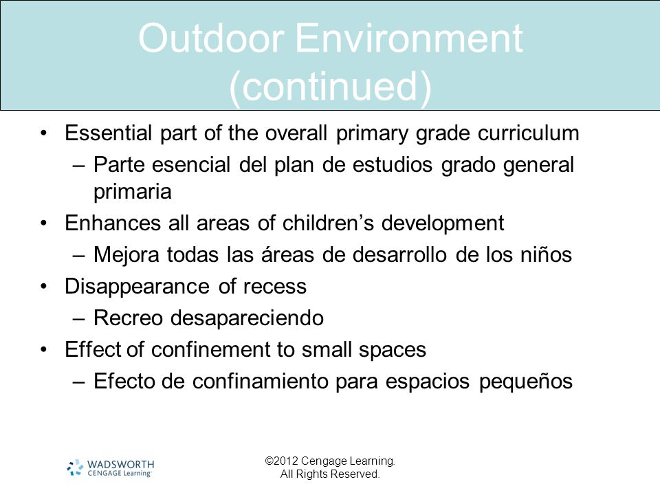 Outdoor Environment (continued) Essential part of the overall primary grade curriculum –Parte esencial del plan de estudios grado general primaria Enh
