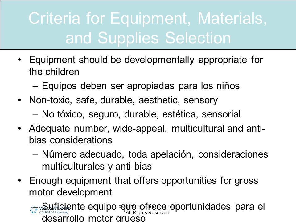 Criteria for Equipment, Materials, and Supplies Selection Equipment should be developmentally appropriate for the children –Equipos deben ser apropiad