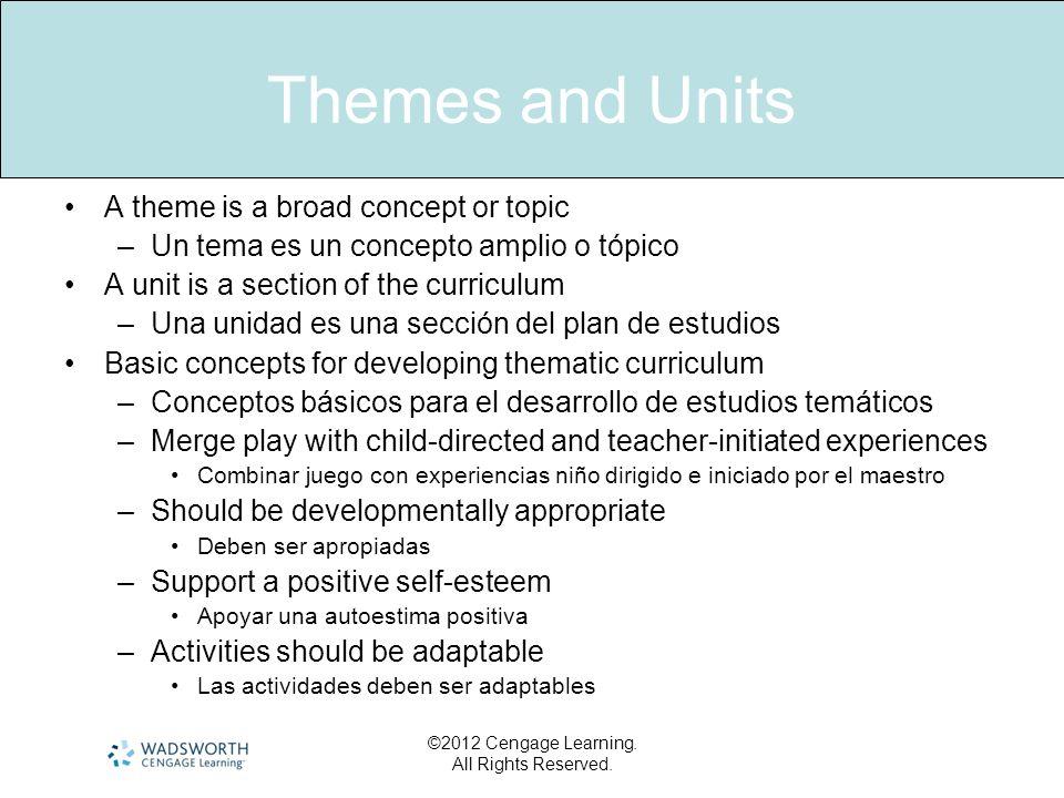 Themes and Units A theme is a broad concept or topic –Un tema es un concepto amplio o tópico A unit is a section of the curriculum –Una unidad es una