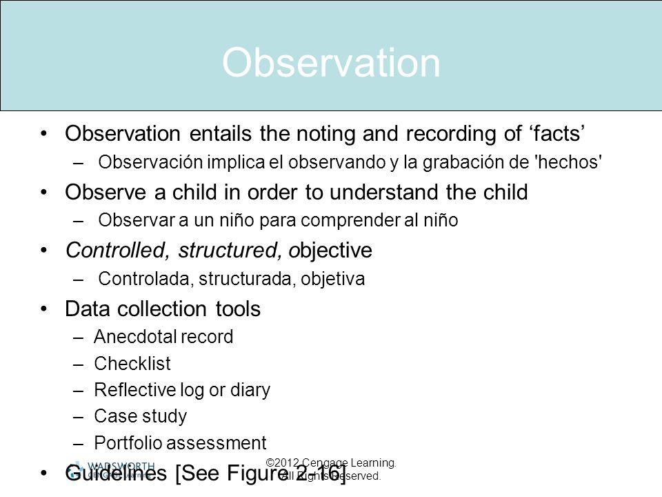 Observation Observation entails the noting and recording of facts –Observación implica el observando y la grabación de 'hechos' Observe a child in ord