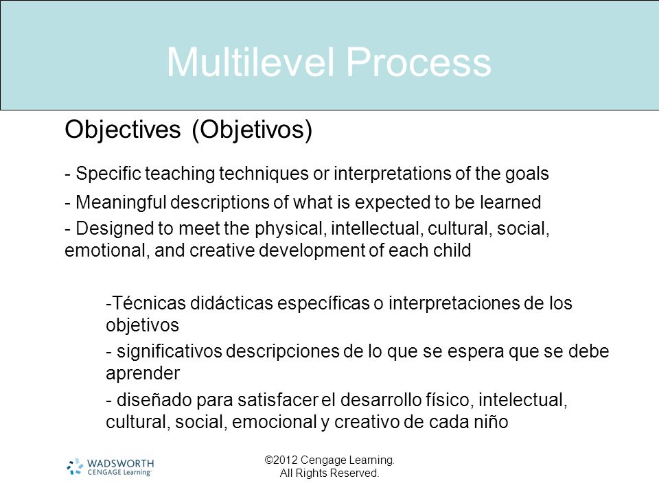©2012 Cengage Learning. All Rights Reserved. Multilevel Process Objectives (Objetivos) - Specific teaching techniques or interpretations of the goals