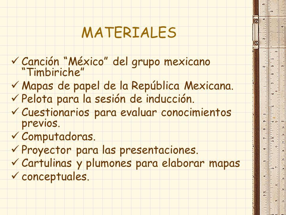 MATERIALES Canción México del grupo mexicano Timbiriche Mapas de papel de la República Mexicana. Pelota para la sesión de inducción. Cuestionarios par