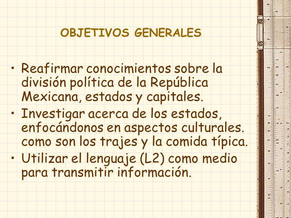 OBJETIVOS GENERALES Reafirmar conocimientos sobre la división política de la República Mexicana, estados y capitales.