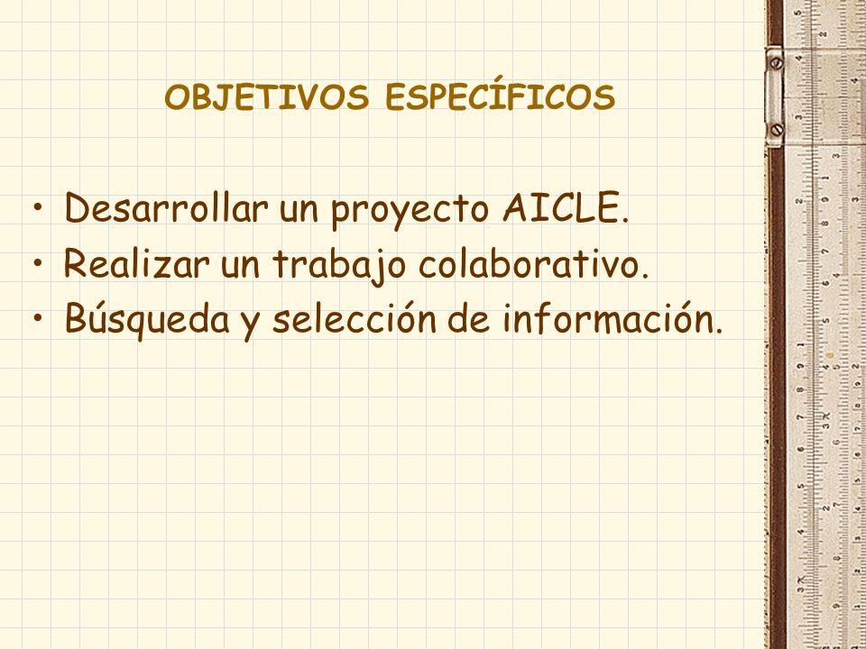 OBJETIVOS ESPECÍFICOS Desarrollar un proyecto AICLE. Realizar un trabajo colaborativo. Búsqueda y selección de información.