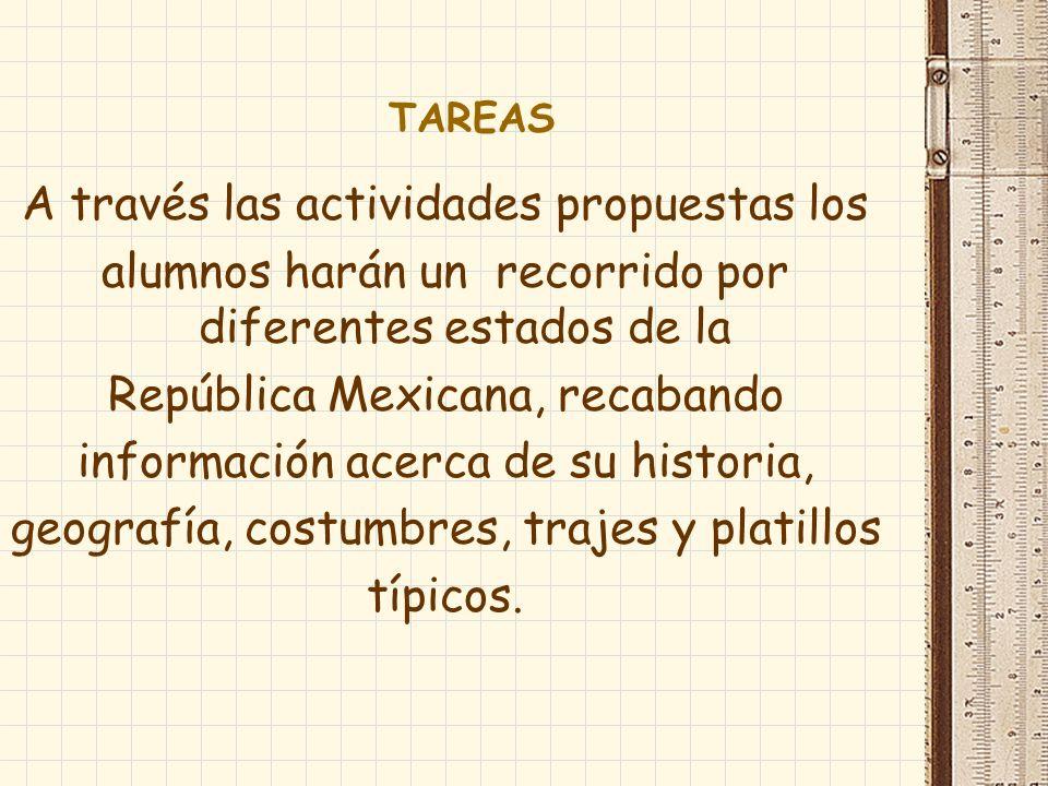 TAREAS A través las actividades propuestas los alumnos harán un recorrido por diferentes estados de la República Mexicana, recabando información acerc
