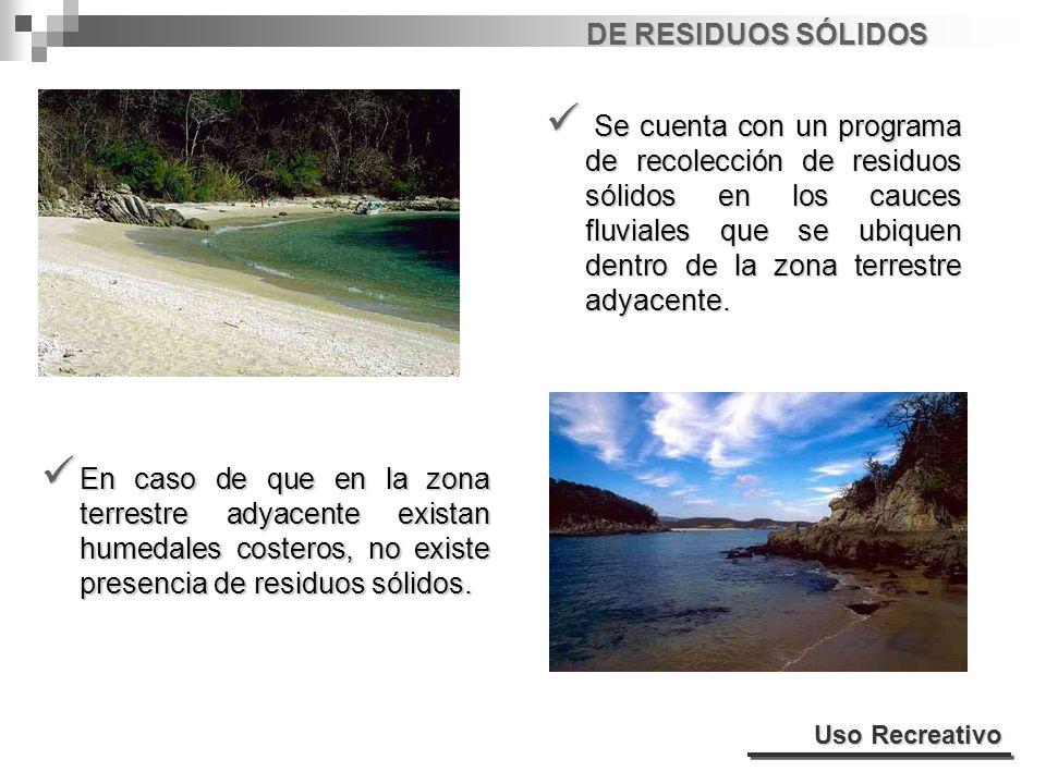 DE RESIDUOS SÓLIDOS Se cuenta con un programa de recolección de residuos sólidos en los cauces fluviales que se ubiquen dentro de la zona terrestre ad