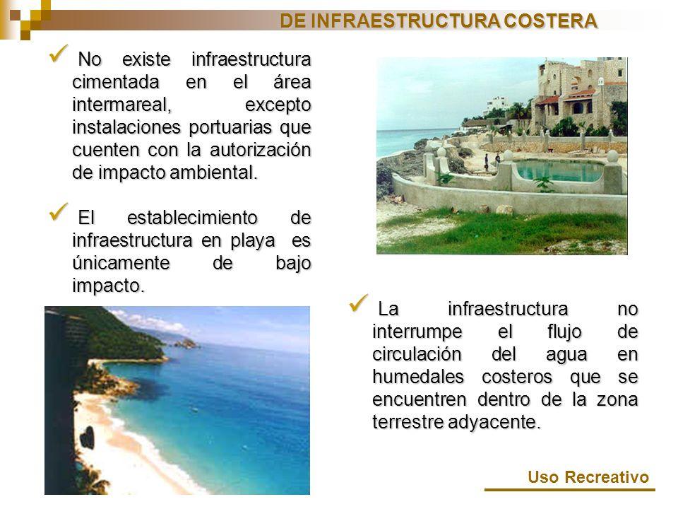 No existe infraestructura cimentada en el área intermareal, excepto instalaciones portuarias que cuenten con la autorización de impacto ambiental. No
