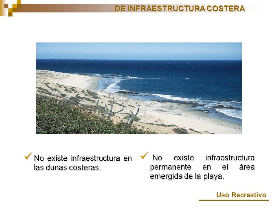 No existe infraestructura en las dunas costeras. No existe infraestructura en las dunas costeras. No existe infraestructura permanente en el área emer