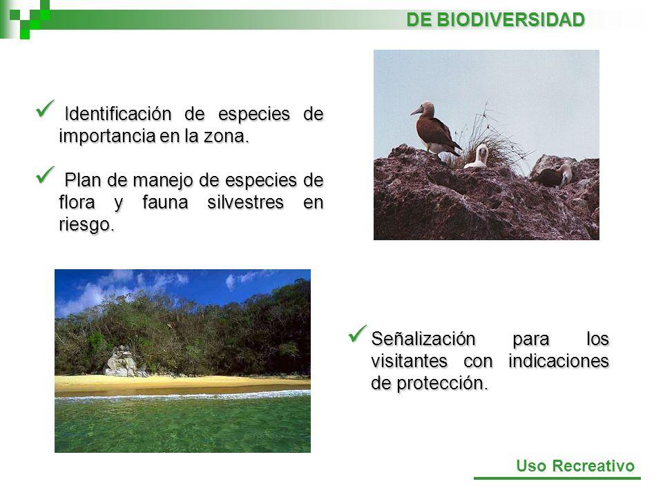 Identificación de especies de importancia en la zona. Identificación de especies de importancia en la zona. Plan de manejo de especies de flora y faun