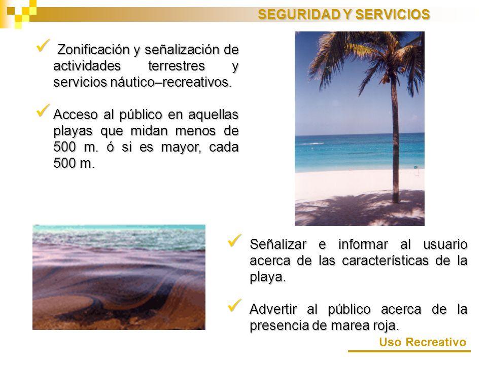 Zonificación y señalización de actividades terrestres y servicios náutico–recreativos. Zonificación y señalización de actividades terrestres y servici