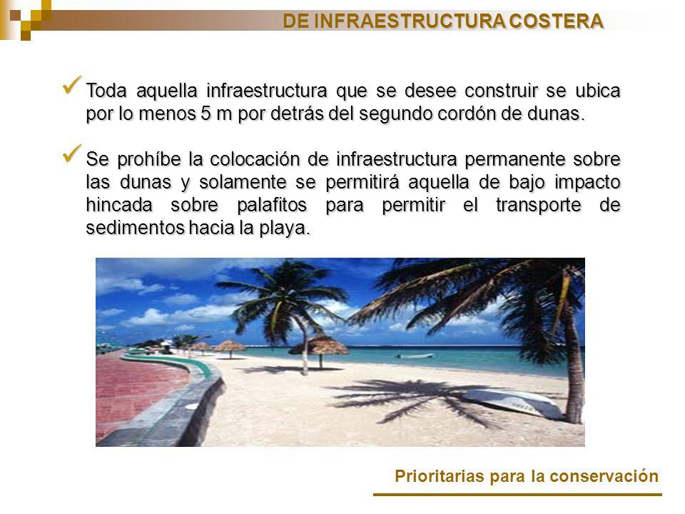Toda aquella infraestructura que se desee construir se ubica por lo menos 5 m por detrás del segundo cordón de dunas. Toda aquella infraestructura que