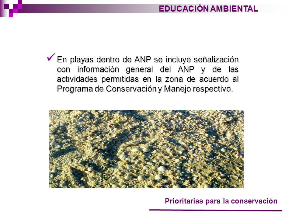 EDUCACIÓN AMBIENTAL En playas dentro de ANP se incluye señalización con información general del ANP y de las actividades permitidas en la zona de acue