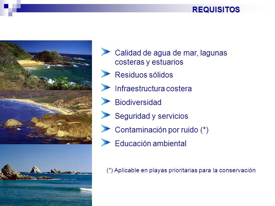 REQUISITOS Calidad de agua de mar, lagunas costeras y estuarios Residuos sólidos Infraestructura costera Biodiversidad Seguridad y servicios Contamina