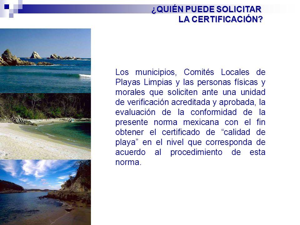 Los municipios, Comités Locales de Playas Limpias y las personas físicas y morales que soliciten ante una unidad de verificación acreditada y aprobada