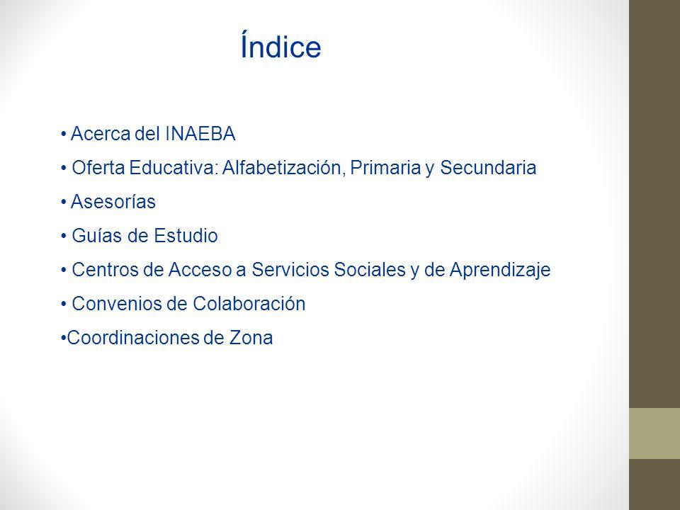 Acerca del INAEBA Oferta Educativa: Alfabetización, Primaria y Secundaria Asesorías Guías de Estudio Centros de Acceso a Servicios Sociales y de Apren