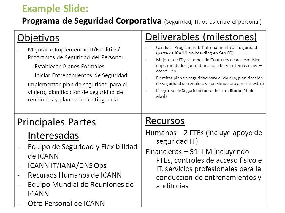 Objetivos -Mejorar e Implementar IT/Facilities/ Programas de Seguridad del Personal - Establecer Planes Formales - Iniciar Entrenamientos de Seguridad -Implementar plan de seguridad para el viajero, planificación de seguridad de reuniones y planes de contingencia Deliverables (milestones) -Conducir Programas de Entrenamiento de Seguridad (parte de ICANN on-boarding en Sep 09) -Mejoras de IT y sistemas de Controles de acceso fisico implementados (autentificacion de en sistemas clave – otono 09) -Ejercitar plan de seguridad para el viajero, planificación de seguridad de reuniones (un simulacro por trimestre) -Programa de Seguridad fuera de la auditoria (10 de Abril) Principales Partes Interesadas -Equipo de Seguridad y Flexibilidad de ICANN -ICANN IT/IANA/DNS Ops -Recursos Humanos de ICANN -Equipo Mundial de Reuniones de ICANN -Otro Personal de ICANN Recursos Humanos – 2 FTEs (incluye apoyo de seguridad IT) Financieros – $1.1 M incluyendo FTEs, controles de acceso fisico e IT, servicios profesionales para la conduccion de entrenamientos y auditorias Example Slide: Programa de Seguridad Corporativa (Seguridad, IT, otros entre el personal)
