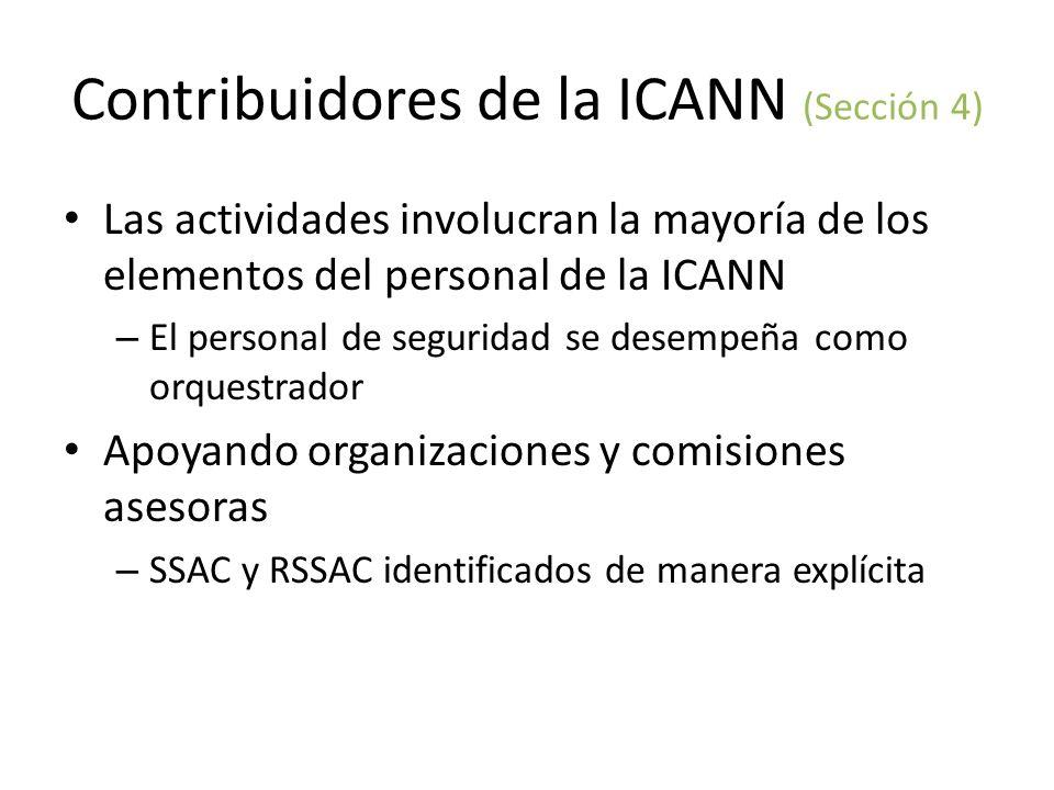 Contribuidores de la ICANN (Sección 4) Las actividades involucran la mayoría de los elementos del personal de la ICANN – El personal de seguridad se desempeña como orquestrador Apoyando organizaciones y comisiones asesoras – SSAC y RSSAC identificados de manera explícita