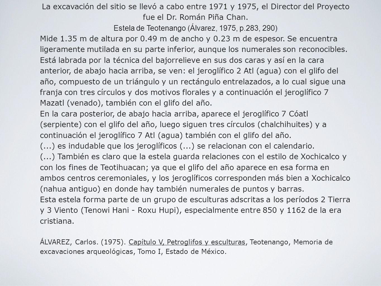 La excavación del sitio se llevó a cabo entre 1971 y 1975, el Director del Proyecto fue el Dr. Román Piña Chan. Estela de Teotenango (Álvarez, 1975, p