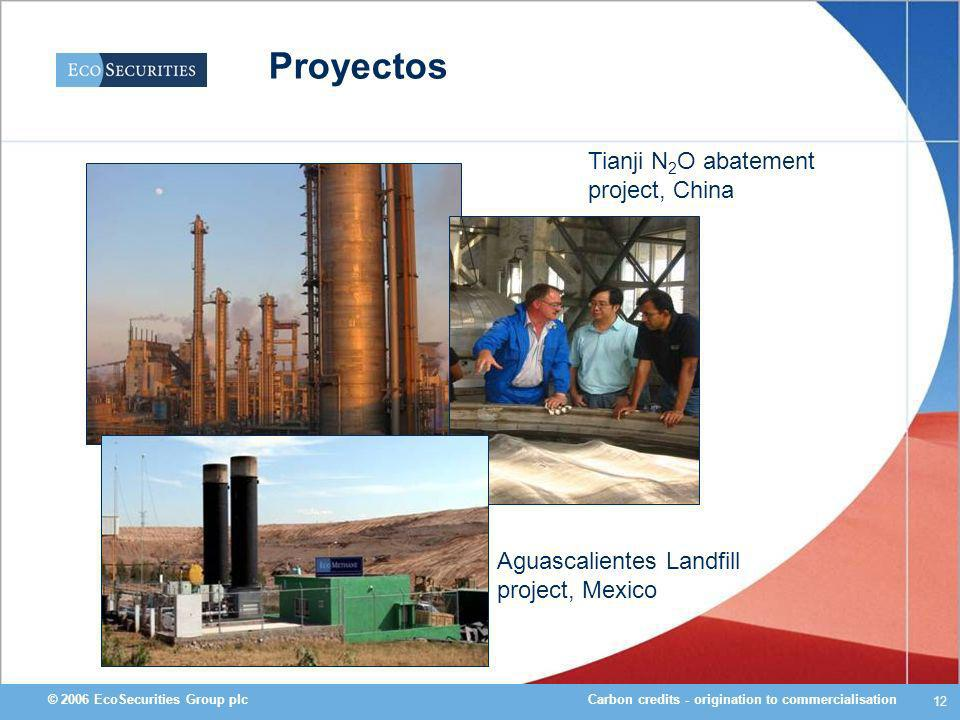 Carbon credits - origination to commercialisation© 2006 EcoSecurities Group plc 12 Tianji N 2 O abatement project, China Aguascalientes Landfill project, Mexico Proyectos
