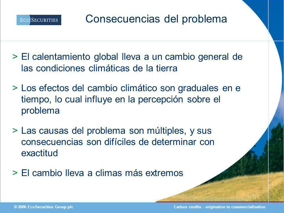 Carbon credits - origination to commercialisation© 2006 EcoSecurities Group plc Consecuencias del problema >El calentamiento global lleva a un cambio