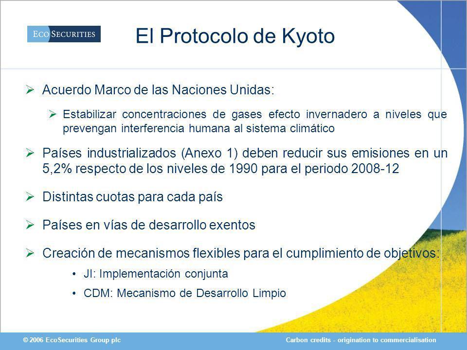 Carbon credits - origination to commercialisation© 2006 EcoSecurities Group plc El Protocolo de Kyoto Acuerdo Marco de las Naciones Unidas: Estabiliza