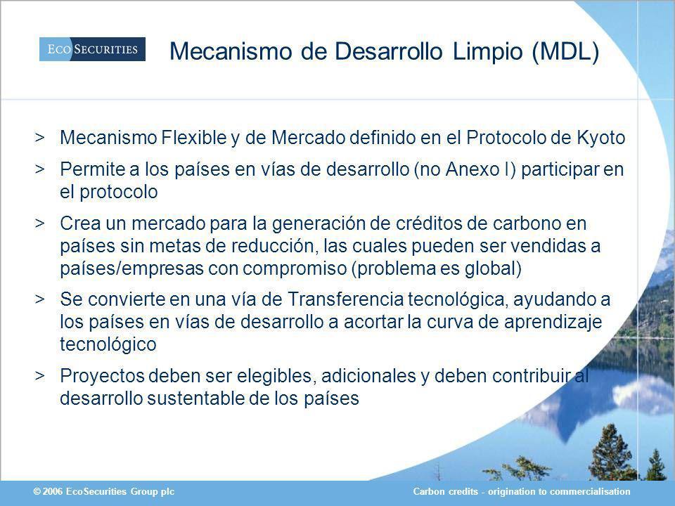 Carbon credits - origination to commercialisation© 2006 EcoSecurities Group plc Mecanismo de Desarrollo Limpio (MDL) >Mecanismo Flexible y de Mercado