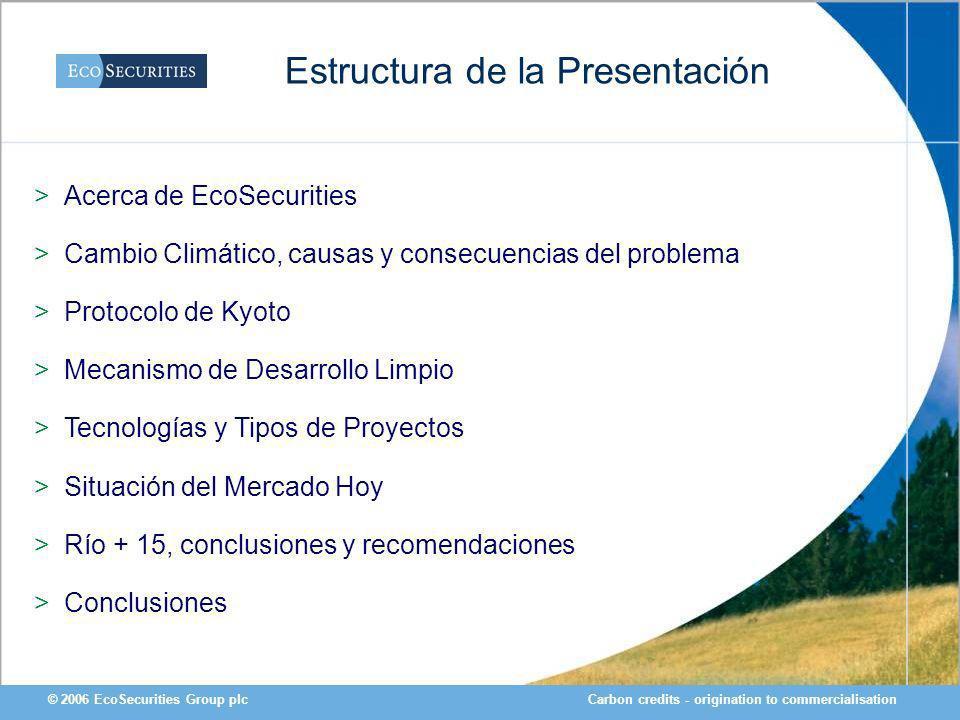 Carbon credits - origination to commercialisation© 2006 EcoSecurities Group plc Estructura de la Presentación >Acerca de EcoSecurities >Cambio Climáti