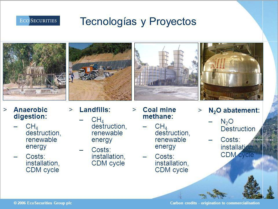 Carbon credits - origination to commercialisation© 2006 EcoSecurities Group plc >Anaerobic digestion: –CH 4 destruction, renewable energy –Costs: installation, CDM cycle >Coal mine methane: –CH 4 destruction, renewable energy –Costs: installation, CDM cycle Tecnologías y Proyectos >N 2 O abatement: –N 2 O Destruction –Costs: installation, CDM cycle >Landfills: –CH 4 destruction, renewable energy –Costs: installation, CDM cycle