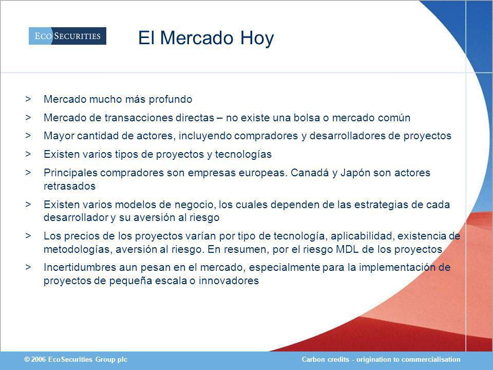 Carbon credits - origination to commercialisation© 2006 EcoSecurities Group plc El Mercado Hoy >Mercado mucho más profundo >Mercado de transacciones d