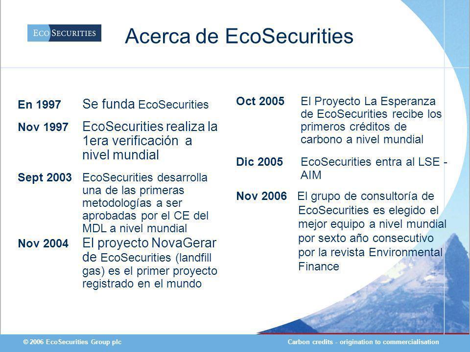 Carbon credits - origination to commercialisation© 2006 EcoSecurities Group plc En 1997 Se funda EcoSecurities Nov 1997 EcoSecurities realiza la 1era