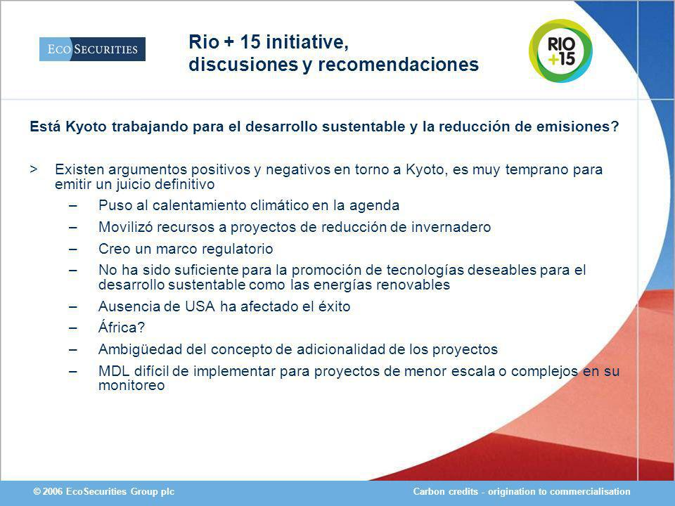 Carbon credits - origination to commercialisation© 2006 EcoSecurities Group plc Está Kyoto trabajando para el desarrollo sustentable y la reducción de emisiones.