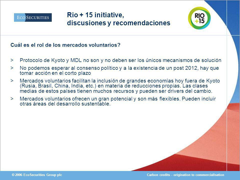 Carbon credits - origination to commercialisation© 2006 EcoSecurities Group plc Cuál es el rol de los mercados voluntarios.