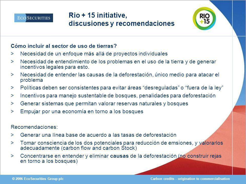 Carbon credits - origination to commercialisation© 2006 EcoSecurities Group plc Cómo incluir al sector de uso de tierras.