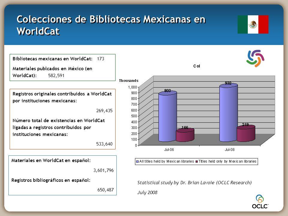 Colecciones de Bibliotecas Mexicanas en WorldCat Statistical study by Dr.