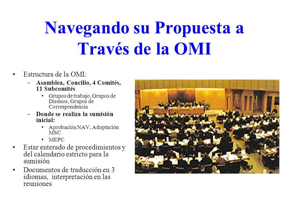 Navegando su Propuesta a Través de la OMI Estructura de la OMI: –Asamblea, Concilio, 4 Comités, 11 Subcomités Grupos de trabajo, Grupos de Disenos, Gr