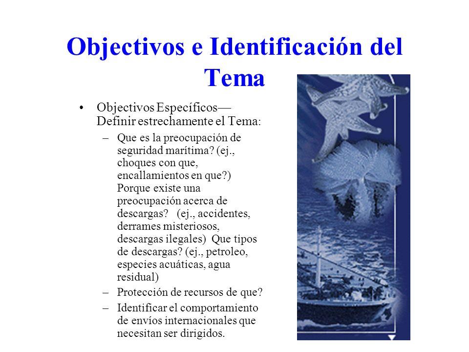 Objectivos e Identificación del Tema Objectivos Específicos Definir estrechamente el Tema : –Que es la preocupación de seguridad marítima? (ej., choqu