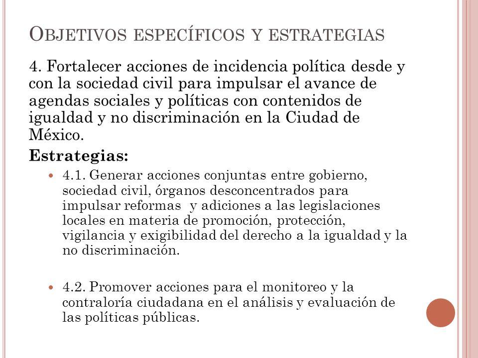 4. Fortalecer acciones de incidencia política desde y con la sociedad civil para impulsar el avance de agendas sociales y políticas con contenidos de