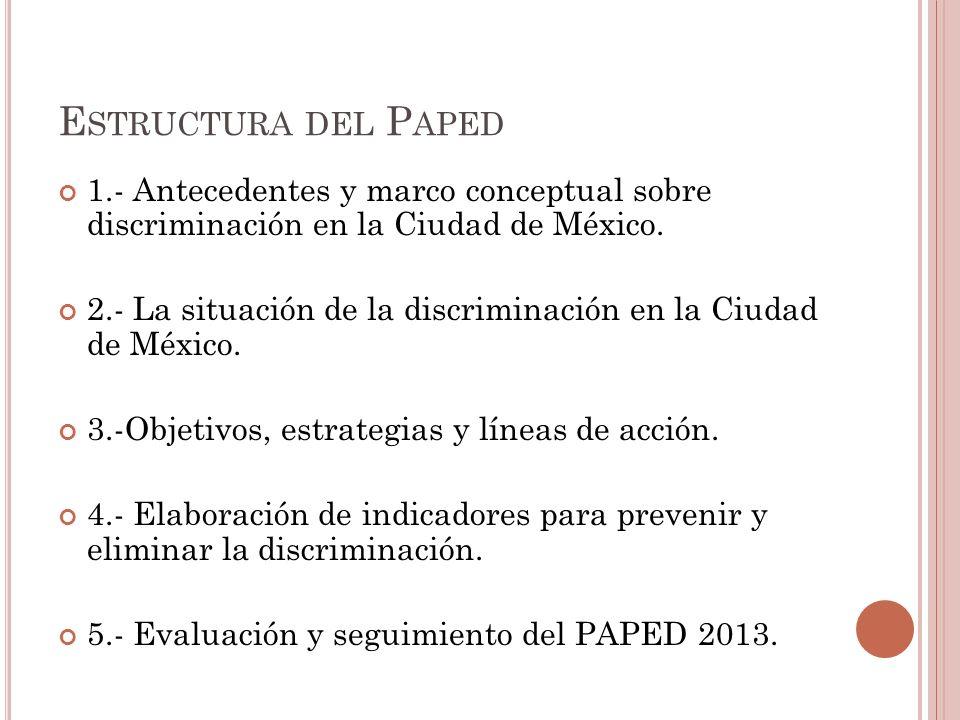 E STRUCTURA DEL P APED 1.- Antecedentes y marco conceptual sobre discriminación en la Ciudad de México.