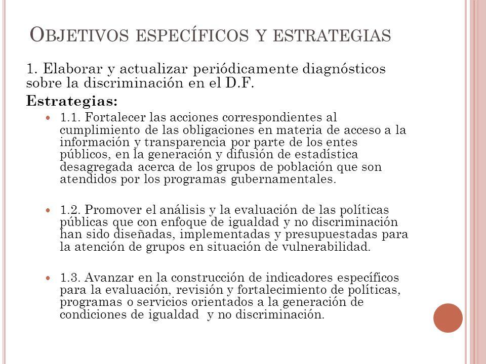 1.Elaborar y actualizar periódicamente diagnósticos sobre la discriminación en el D.F.
