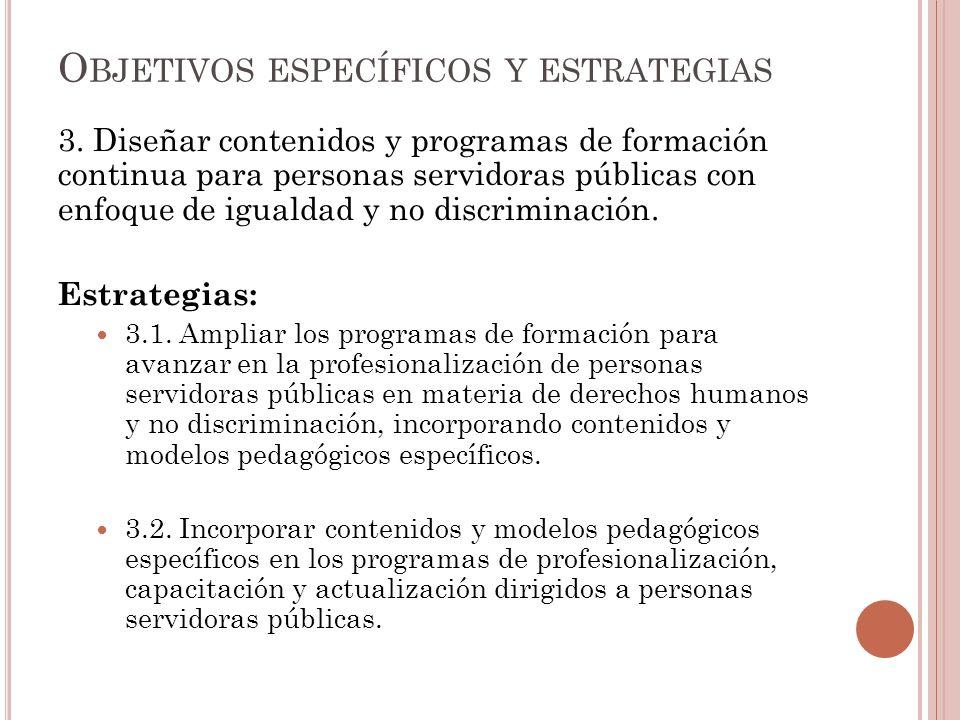 3. Diseñar contenidos y programas de formación continua para personas servidoras públicas con enfoque de igualdad y no discriminación. Estrategias: 3.