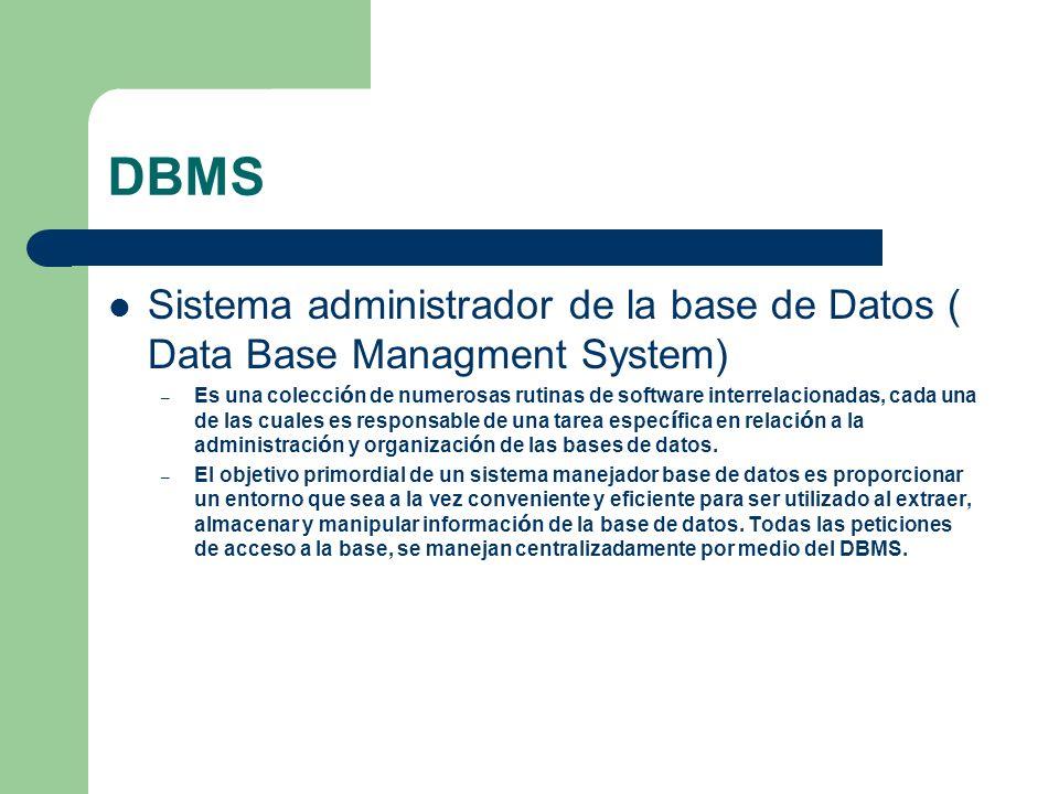 DBMS Sistema administrador de la base de Datos ( Data Base Managment System) – Es una colecci ó n de numerosas rutinas de software interrelacionadas,