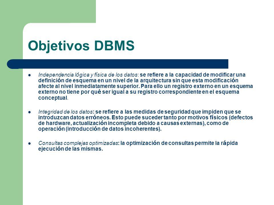 Objetivos DBMS Independencia l ó gica y f í sica de los datos: se refiere a la capacidad de modificar una definici ó n de esquema en un nivel de la ar