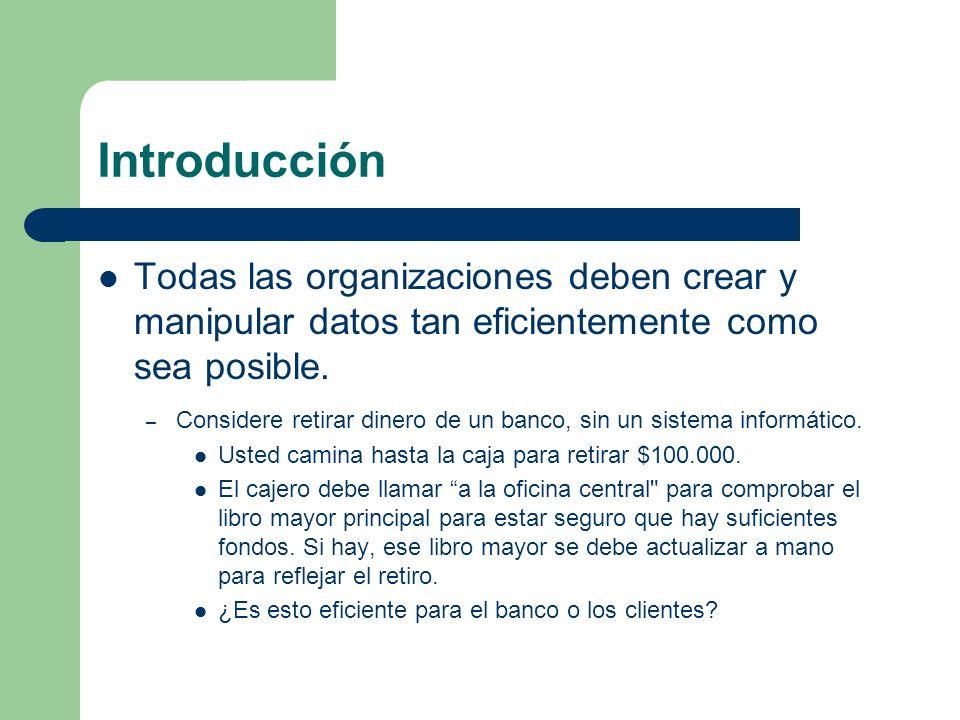 Introducción Todas las organizaciones deben crear y manipular datos tan eficientemente como sea posible. – Considere retirar dinero de un banco, sin u