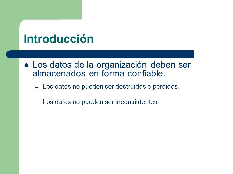 Introducción Los datos de la organización deben ser almacenados en forma confiable. – Los datos no pueden ser destruidos o perdidos. – Los datos no pu