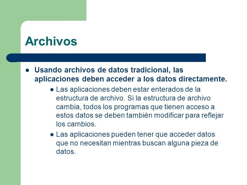 Archivos Una colección de programas de aplicación que realizan servicios para el usuario final, (Ej: producción de reportes.) Cada programa define y administra sus propios datos.