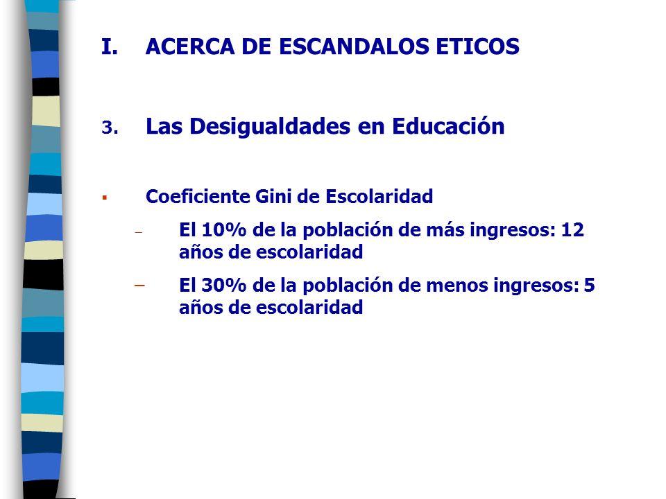 I.ACERCA DE ESCANDALOS ETICOS 4.Las Familias en Riesgo 5.