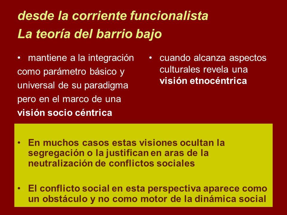 desde la corriente funcionalista La teoría del barrio bajo mantiene a la integración como parámetro básico y universal de su paradigma pero en el marc