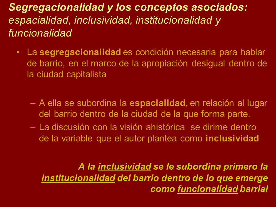 Segregacionalidad y los conceptos asociados: espacialidad, inclusividad, institucionalidad y funcionalidad La segregacionalidad es condición necesaria
