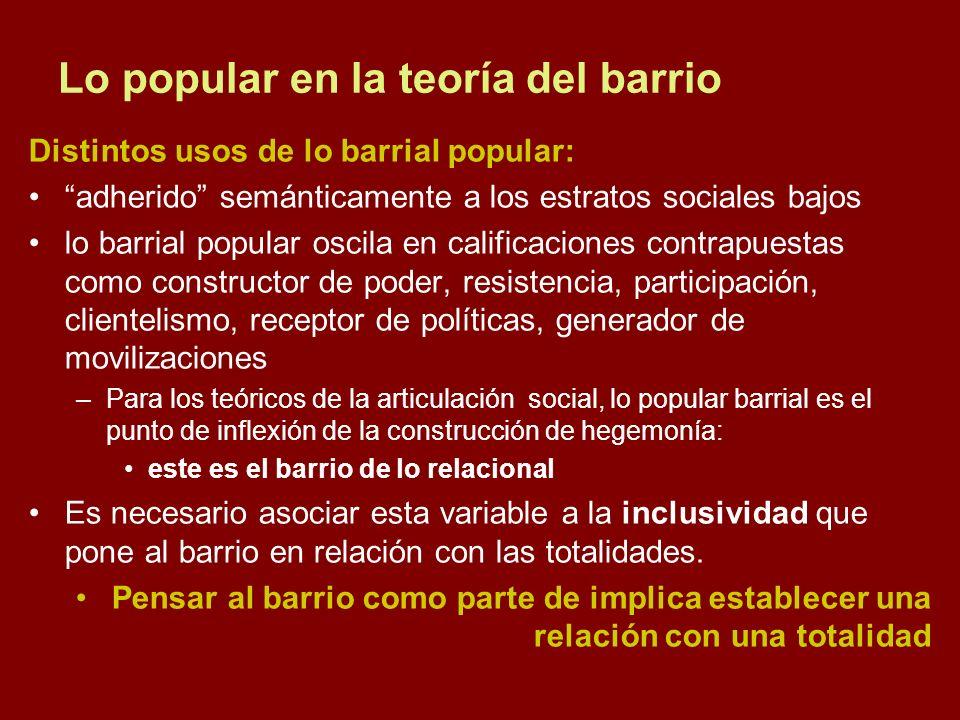Lo popular en la teoría del barrio Distintos usos de lo barrial popular: adherido semánticamente a los estratos sociales bajos lo barrial popular osci